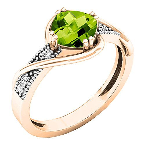 Dazzlingrock Collection 10K 6 MM Cushion Peridot & Round Diamond Ladies Bypass Engagement Ring, Rose Gold, Size 7