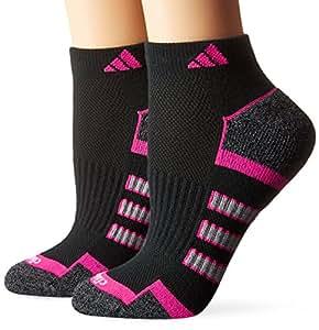 adidas Women's Climalite II Low Cut Socks (2 Pack), One Size, Black/Shock Pink/Light Onix/Black-Onix Marl