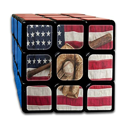 Speed Cube 3x3 Cool Magic Cube Sticker Vintage Baseball Sport American Flag Puzzles Toys (56mm) (Puzzles Ultimate Baseball)