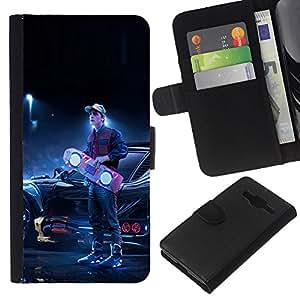 KLONGSHOP // Tirón de la caja Cartera de cuero con ranuras para tarjetas - Back To The Futur - Samsung Galaxy Core Prime //