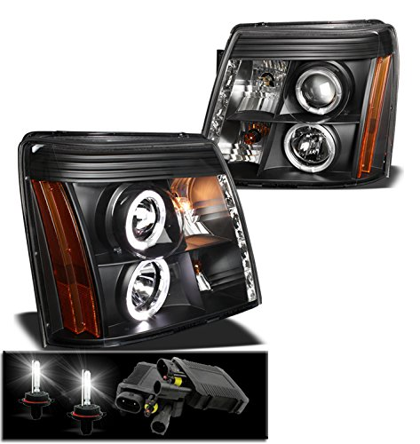 2002-2006 Cadillac Escalade Halo DRL LED Projector Headlights with 6000K HID Conversion Kit - Black -