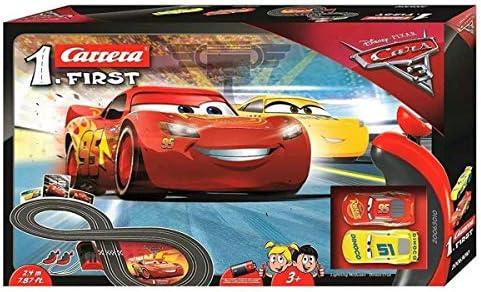 Carrera FIRST Disney·Pixar Cars 3 – Carrerabahn für Kleinkinder – Elektrische Autorennbahn mit McQueen & Ramirez Spielzeugautos – Rennbahn für Kinder ab 3 Jahren