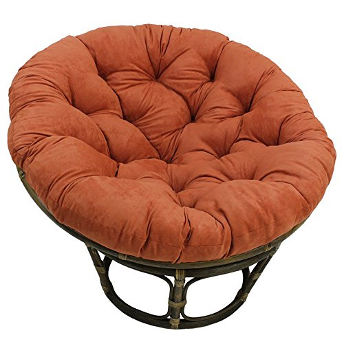 Rattan Papasan Chair with Tufted Foam Cushion - Modern Indoor Living Room Accent Seat (Spice)
