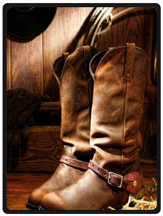 34377404217 Image Unavailable. Image not available for. Color  Funny American West  Rodeo Cowboy Black Felt Hat Atop Worn Western Boots Vintage Style ...