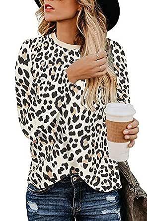 Mulisky Women's Leopard Print Blouse Round Neck Soft Tops Basic Tunics Long Sleeve T Shirt Apricot Leopard S