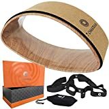 7 Chakras Cork Yoga Wheel Set   Yoga Starter Set - 4 Piece Yoga Props   Stretching Strap Loops - 2X Carry Bags: Double Radian Yoga Wheel Back Pain Stretching   Size 15 inch