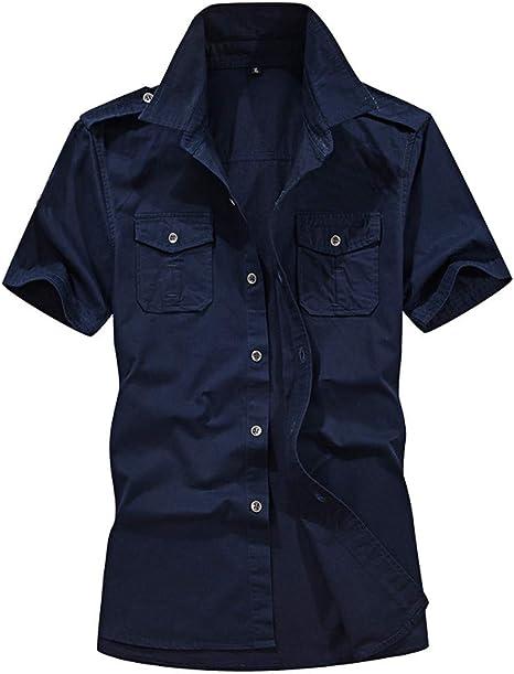 Sunnyuk Camisas Hombre,Hombres Casual Militar Cargo Slim