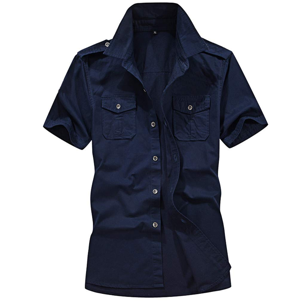 Gibobby Military Shirts for Men Solid Button Down Tops Short Sleeve Plus Size Casual Stand Collar Shirt with Pockets Dark Blue