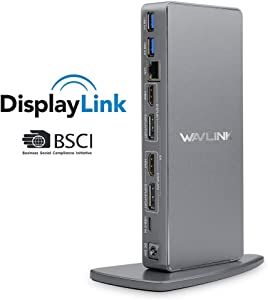 WAVLINK Dual 4K USB C Universal Laptop Docking Station, Dual 4K@60Hz & Single 5K@60Hz Display,2xHDMI & Display Port,6 USB 3.0,Gigabit Ethernet,Audio for Windows, Mac OS & Chrome OS & Android 5.0 Later