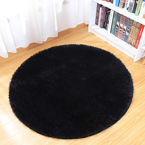 Junovo Round Fluffy Soft Area Rugs for Kids Room Children Room Girls Room Nursery,4 Feet,4-Feet (Black)