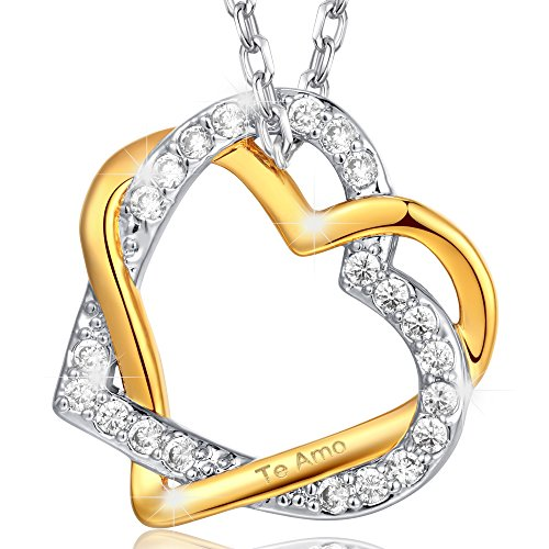 Marenja-Cristal-Regalos-Navidad-Collar-para-Mujer-Doble-Corazn-Entrelazado-Grabado-Te-Amo-Chapado-en-Oro-Regalo-para-Mujer-445cm