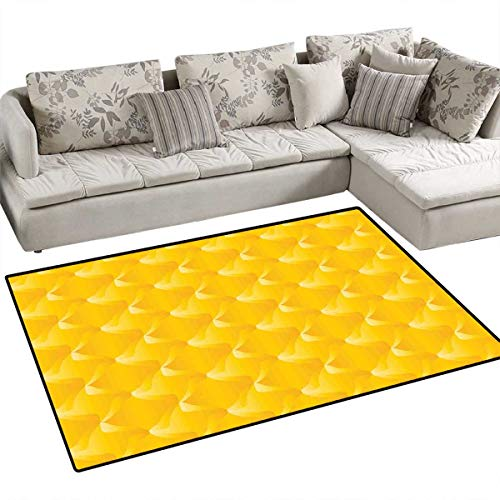 Yellow Door Mats Area Rug Abtract Shaded Curving Lines and Swirling Motifs Patterns Style Crystal Decorative Living Bath Mat Non Slip 3'x5' Yellow