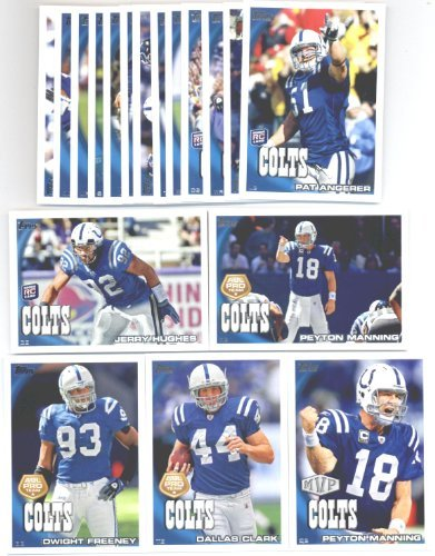 2010 Topps Indianapolis Colts Team Set of 18 cards with bonus 4 Pocket Notebook ! Set Includes 3 Peyton Manning cards with bonus 4 Pocket Notebook, Austin Collie, Donald Driver, Rookies of Kevin Thomas & Pat Angerer and more !
