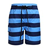MSemis Kids Children Boys Striped Beach Shorts Quick Dry Swim Trunks Boardshorts with Pockets Swimwear Dark Blue&Sky Blue 10-12 Years