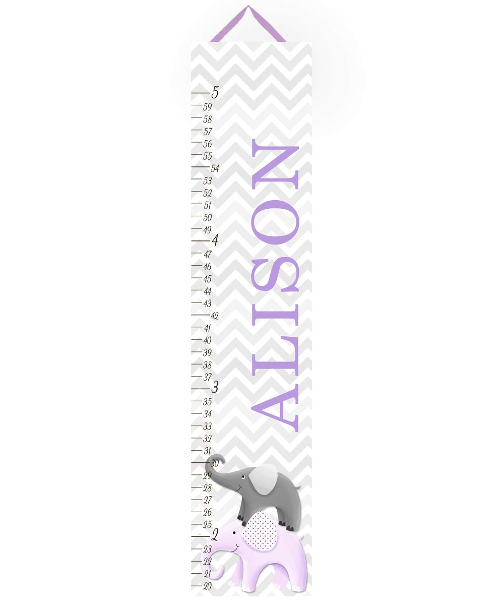 Canvas Growth Chart Purple and Grey Chevron Elephant Girls Kids Bedroom Baby Nursery Wall Art GC0233 by Toad and Lily