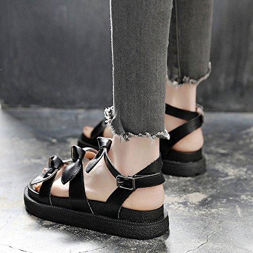 chicas Negro joven plana zapatos Bow sandalias Knot playa estudiante plataforma verano Nuevas para Señoras con Mujer señoras SOHOEOS señoras Plataforma 5SpH0W