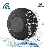 Resistente al agua Bluetooth 3.0 Ducha Altavoz, Altavoz Portátil de Manos Libres con Mic Incorporado, 6h de Tiempo de Juego, Botones de Control y Ventosa Dedicado para Duchas,Cuarto de baño,Piscina,Barco,Coche, Playa,al aire libre Usar- Negro