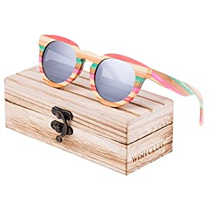 WISH CLUB Polarized Rainbow Wood Beach Round Sunglasses for Women mirrored Lenses Wooden Bamboo Sun Glasses for Girls Oval Colorful UV 400 Retro Lightweight Eyewear (Silver)