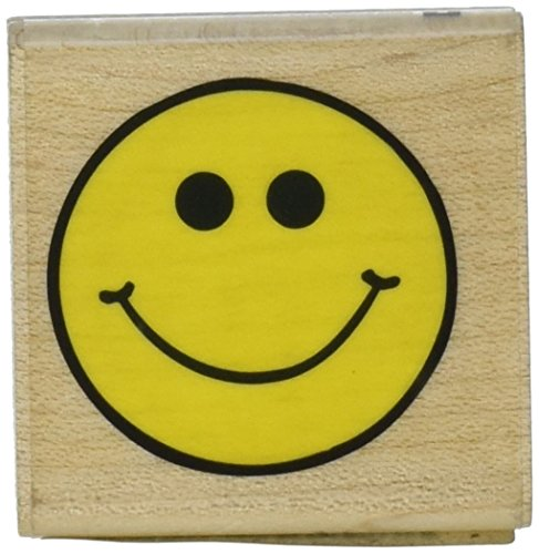 (EK Success Inkadinkado Smiley Face Wood Stamp for Scrapbooking and Card Decorating, 1.5'' x 1.5'')