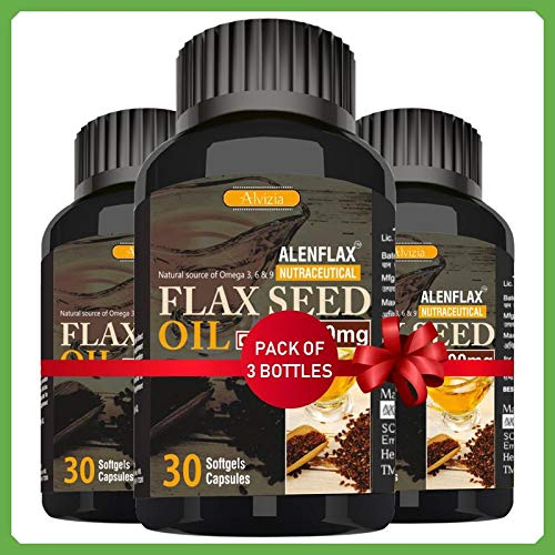 Alenflax Premium Cold pressed Flaxseed oil 1000 mg Omega 3+6+9 (30 softgel capsules) (Pack of 3) (B07QPDBSLP) Amazon Price History, Amazon Price Tracker