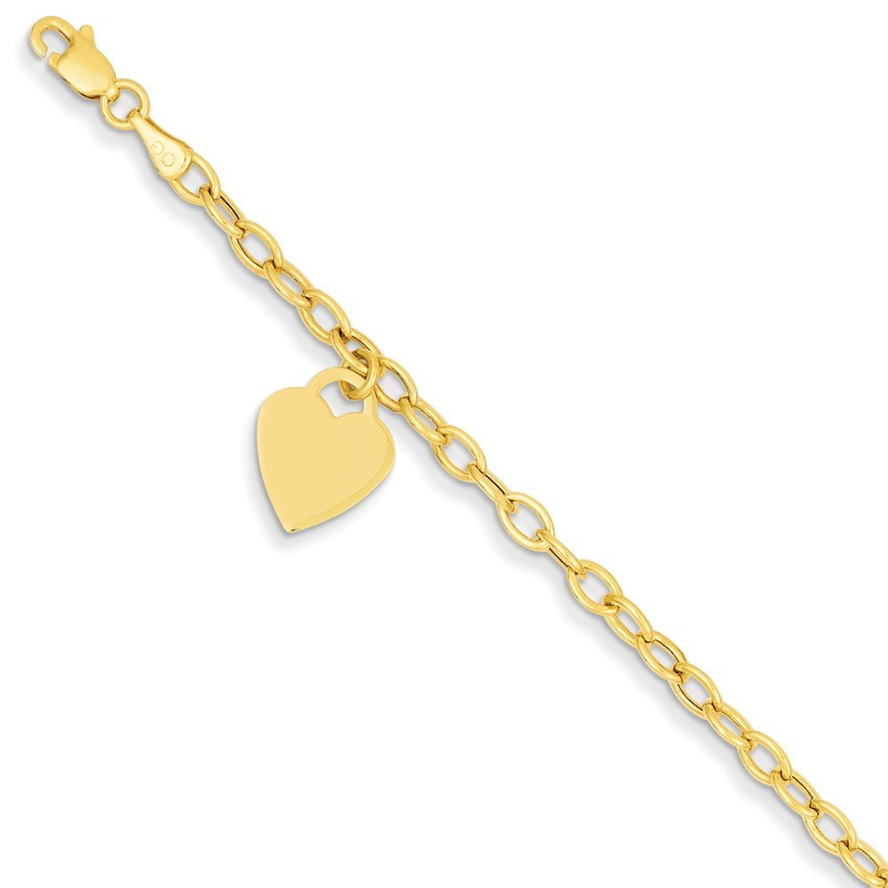 Solid 14k Yellow Gold Dangle Heart Bracelet - with Secure Lobster Lock Clasp (10.5mm)
