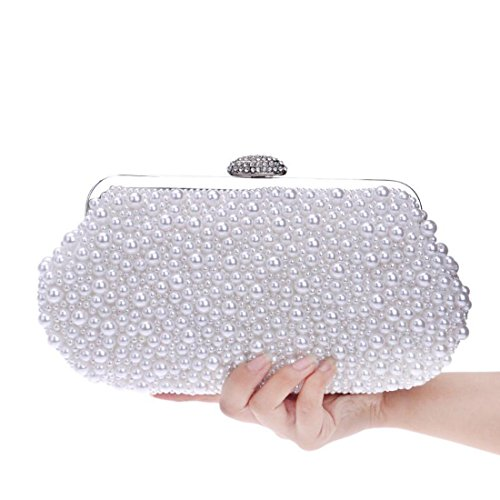 Wedding EPLAZA Handbags Evening Beaded White Pearl Clutch Women Purse Party Bags xqxwpfW