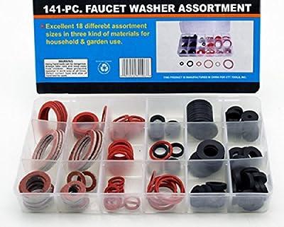 Rubber Faucet Washer Assortment 141pc Gummi Fiber Klingerith Sink Plumbing NEW