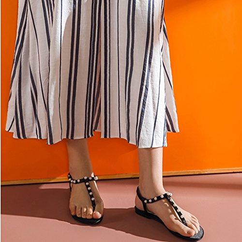Sandals ZCJB Summer Women's Shoes Flat Shoes Strap Shoes Pearl Herringbone Beach Shoes Flat Heel (Color : Pink, Size : 36) Black
