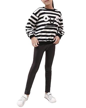 Fille Leggings Pleine Longueur Faux Cuir Enfants Pantalon Élasticité Noir  100CM b49d357a5890