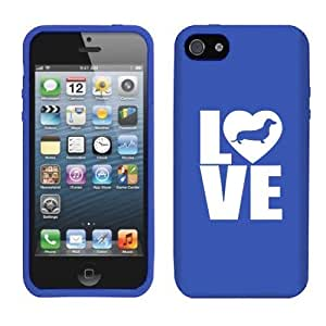 Apple iPhone 5 5s Silicone Soft Rubber Skin Case Cover Love Dachshund (Blue)