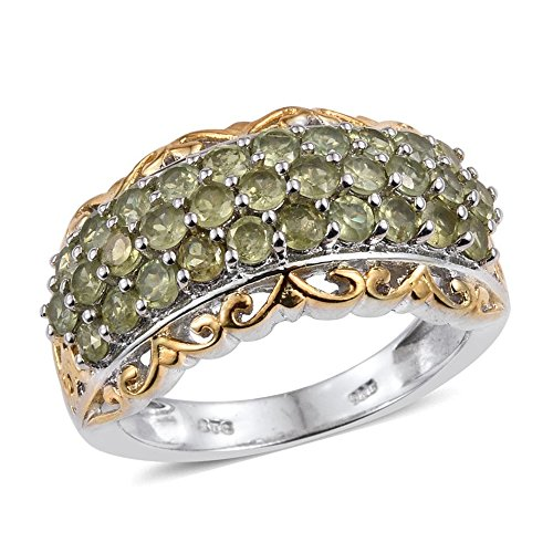 Demantoid Garnet 14K Yellow Gold and Platinum Plated Sterling Silver Ring 2.17 cttw. Size 7
