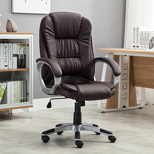 (Belleze High Back Executive Adjustable Leather Ergonomic Desk Office Chair (Brown))
