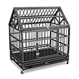 Gelinzon 42'' Heavy Duty Stainless Dog Cage Crate with Wheels and Tray[Update Version](Silver)