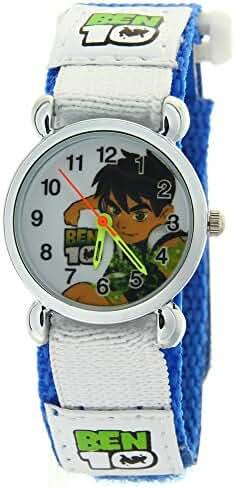 Ben 10 Quartz Arabic Numerals Circle Face Boys Girls Kid Cartoon Watch Blue Nylon Band Velcro Strap