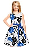Tkiames Girls Lace Flower Dress Casual Crew Neck Floral A-Line Party Dress (9T(9-10 Years), Blue3)