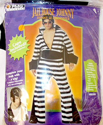 PMG Hallowen Black White Jail House Johnny Prisoner Costume Jumpsuit OSFM (Jailhouse Jumpsuit Costumes)