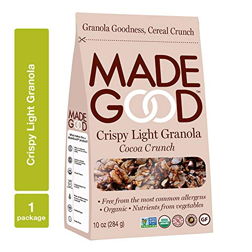 (MadeGood Cocoa Crunch Crispy Light Granola (10 oz Package); Nut-Free, Gluten-Free, Allergy Friendly, USDA Certified Organic Ingredients, Vegan, Non-GMO; Nutrients from a Full Serving of Vegetables   )