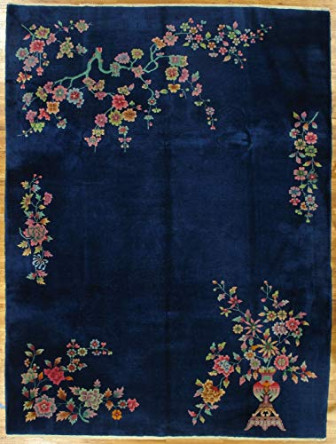Wool Blue Traditional Handmade Rug 9 x 13 Semi-Antique Chinese Art Deco Rug