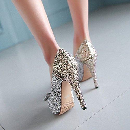 2634c2e5 ... COOLCEPT Mujer Moda Sin Cordones Tacon de Aguja Bombas Zapatos Peep Toe  Shiny Sandalias With Bowknot ...