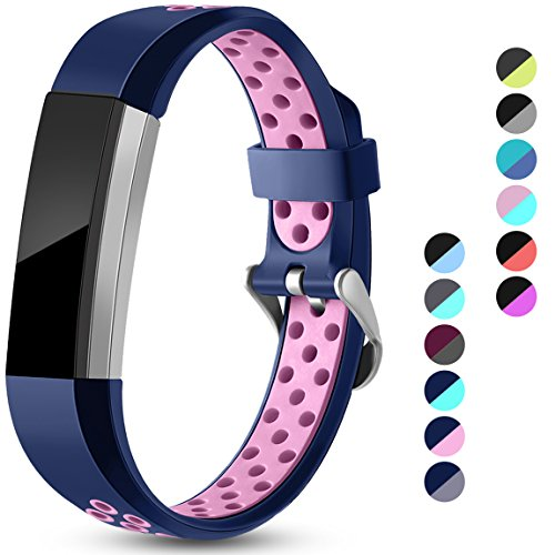 Maledan Replacement Bands Compatible for Fitbit Alta, Fitbit Alta HR and Fitbit Ace, Accessory Sport Bands Air-Holes Breathable Strap Wristbands with Stainless Steel Buckle, Blue/Pink, Small