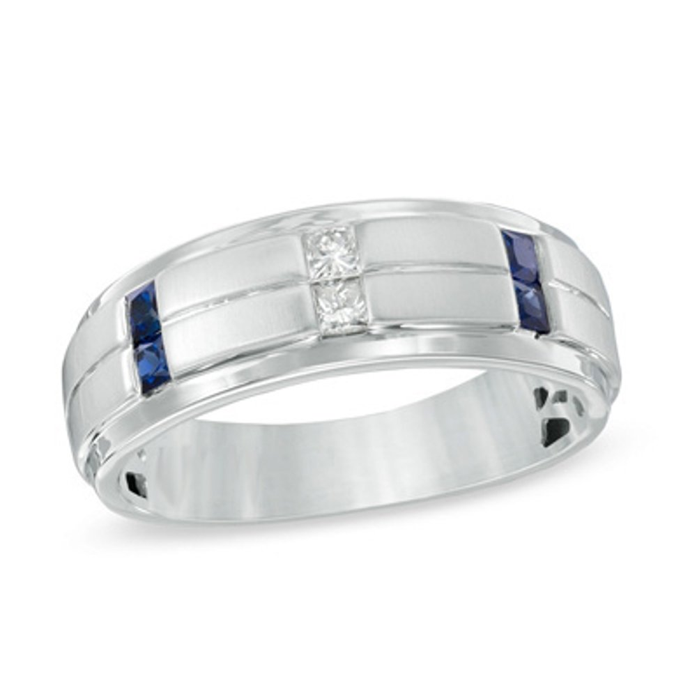 Pretty Jewellery Princess Cut Blue Sapphire & Diamond Men's Wedding Band Ring in 14K White Gold Fn S925 OS21029477