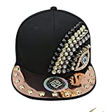 myglory77mall PRANKERS Handmade Flat Cap Snapback Bboy Hats Adjustable Hip-Hop dl11 Black L For Adults
