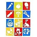 Perfeclan プラスチック 画像ステンシル 図面テンプレート 子供DIY工芸品おもちゃ用 ギフト 新しい 12個入りセット 知育玩具