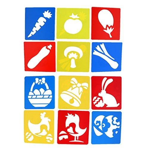 Perfk クリエイティブ クラフト 教育ツール 子供DIY工芸品おもちゃに適用 装飾 図面テンプレート 12個 ステンシルルーラー