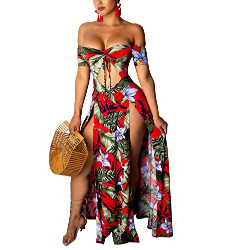 Womens Sexy Casual Outfits - Off The Shoulder Short Sleeve Cut Out Belt Slit Summer Beach Swing Dress Red#1 -