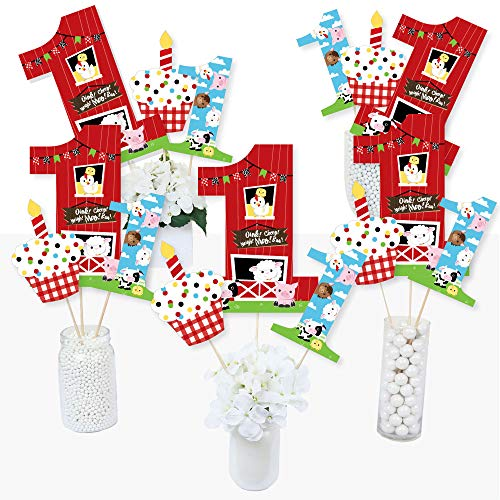 Party Table Birthday Centerpiece (1st Birthday Farm Animals - Barnyard First Birthday Party Centerpiece Sticks - Table Toppers - Set of 15)