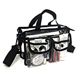 Clear cosmetic bag with removable and adjustable shoulder strap (Black)