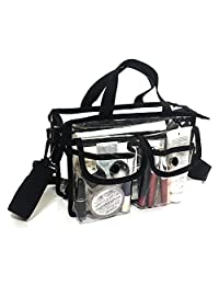 Clear PVC Pouch With Removable and Adjustable Shoulder Strap (Black)