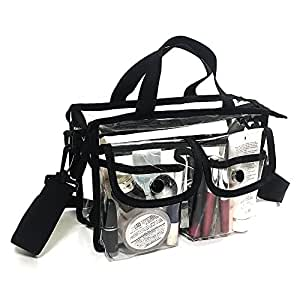 Clear PVC cosmetic bag with detachable shoulder strap