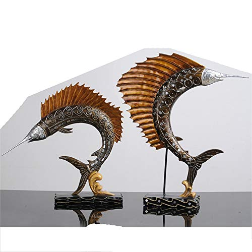 - Nordic Vintage Swordfish Imitation Copper Resin Crafts Creative Decorations Wine Cabinet TV Cabinet